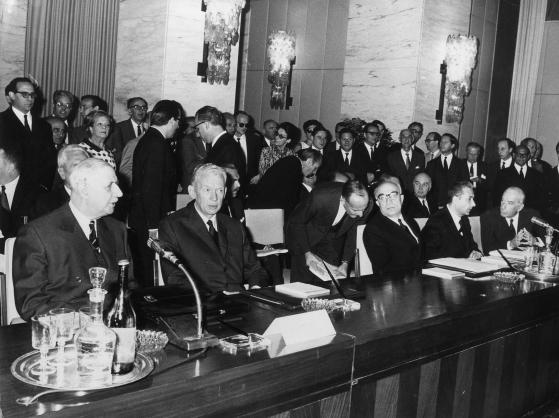 Decennale dei Trattati di Roma: Charles De Gaulle, Amintore Fanfani e Aldo Moro, 1967
