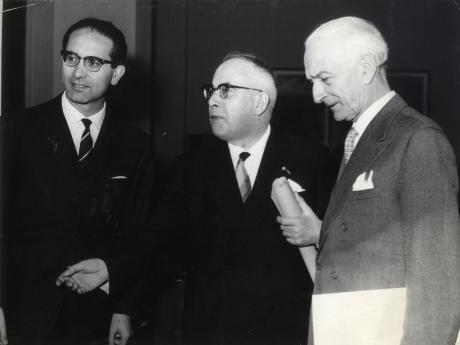 Emilio Colombo, Piero Malvestiti e Antonio Segni, 1957